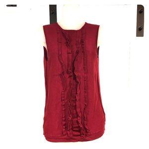 Loft Sleeveless sweater ruffles Bordeaux/Wine
